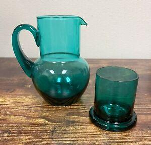 VTG Estate Deep Turquoise Blue Bedside Water Pitcher Carafe w/ Glass! 97