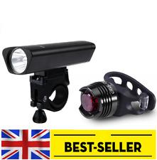 ANTERIORE e POSTERIORE BICICLETTA Luci Set Kit-Nero Lega di Alluminio Luce LED Bianco Rosso UK