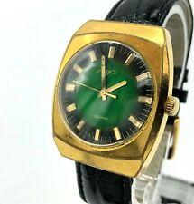 Urss Luch Oro Chapado Verde 2209 Mecánico Hombres Soviético Pulsera 18k Servicio