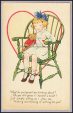 Valentine Postcard Gibson Art Girl w Teddy Bear PC