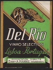 Etikett für Wein - Del Rio Vinho Selection / Windhunde - ca. 1930 / # 851