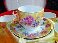 Vintage Beautiful Boxed SET of 6 Tea cups & 6 Saucers Fine Porcelain Multicolor