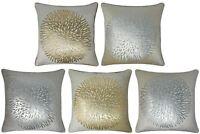 """Leon Velvet Cushion Cover Luxury Metallic Flower Burst Print Covers 18"""" x 18"""""""