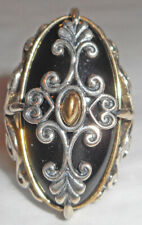 CAROLYN POLLACK Sterling Silver ONYX Vine Ring! Size 5