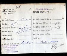 """LIBOURNE (33) SEL """"COMPTOIR VENTE des SELS DE L'OUEST / Georges DUBERT"""" en 1936"""