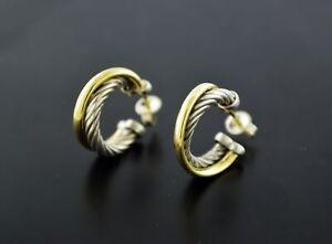 David Yurman Crossover 18k Yellow Gold 925 Sterling Silver 18mm Hoop Earrings