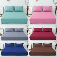 T152 Extra Deep 40 Cm Fitted Sheet Easy Care Polycotton Plain Dyed Uk Bed Size