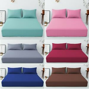 "Extra Deep 40 cm /16"" Fitted Sheet Easy Care Polly cotton Plain All UK Bed size"