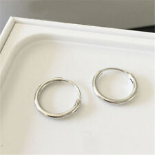 12mm Silver Gold Plated Small Endless Hoop Ear Stud Earrings Round Jewelry