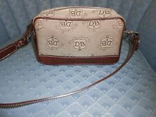 Authentic Dooney & Bourke Brown & Tan Leather & Canvas Small Purse