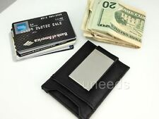 New generic  Leather Stainless Steel Money Clip Bifold Wallet Credit Card Holder