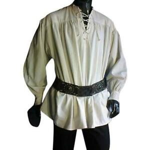 Medieval Lace-up Pirate Shirt (Red, Green,Natural,Black, Brown) - 1427