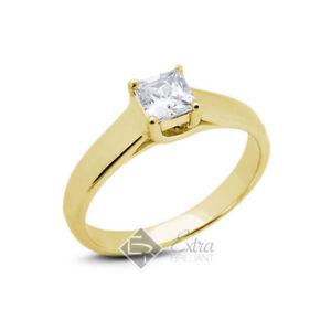 1.56ct F VS2 Princess Natural Diamond 14k Yellow Gold Solitaire Engagement Ring