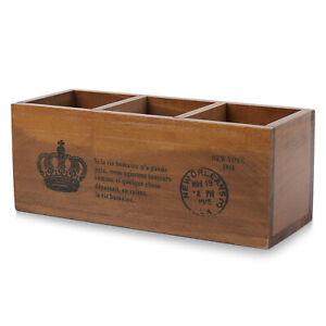 Wooden Desktop Storage Organizer/Remote Control Caddy Holder Wood Box Container