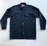 VTG Dickies Men's Big and Tall Long Sleeve Mechanics Work Shirt Navy Size Large