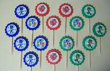 16 MINI- PJ MASKS Cupcake Toppers / Sandwich Spears party favors