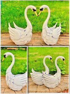 Metal White Swan Garden Ornament Outdoor Or Indoor Steel Realistic Animal