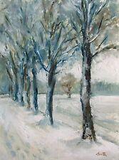 Oil Painting, ' Snow Parade' Original impressionist landscape 8x6 inch picture.