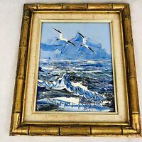 Morris Katz Framed Seascape Ocean Seagull Oil Painting 10x8 Signed Dated 1984