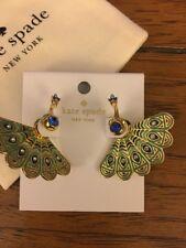 BNWT Kate Spade New York Full Plume Peacock Stud Jacket Earrings