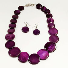 Fashion Trend Shimmy Purple Color Shell Disc Necklace With Dangle Earrings Set