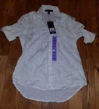 NWT Womens Giselle Shell White GLORIA VANDERBILT Roll Tab Shirt Size Medium M