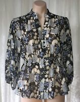 RANIA LEPTOS COLLECTION SIZE 8 PURE SILK FLORAL BLOUSE MADE IN AUSTRALIA