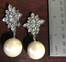 Vintage Monet Big Faux Pearl With Clear Rhinestones Silver Tone Clips Earrings