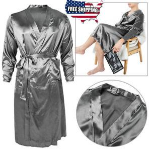 Men Soild Pajama Set Silk Sleepwear Thin Nightwear Bath Robe Kimono Nightgowns