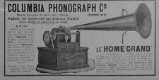"""PARIS BLVD ITALIENS """" COLUMBIA PHONOGRAPH / GRAMOPHONE MIGNON """" PUBLICITE 1897"""