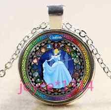 VINTAGE Cinderella Cabochon Tibetan silver Glass Chain Pendant Necklace #3254