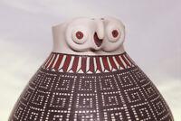 Mata Ortiz Pottery Round Handmade Complex Design & Owl Figure Head See Video
