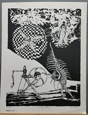 """Famous WPA Artist Leo Russell S/N Lithograph """"The Mystical Sphere"""" 1960's"""