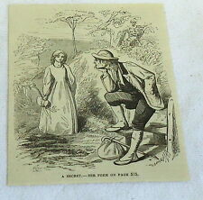 small 1878 magazine engraving ~ MAN RESTS CHIN IN HIS HAND & LOOKS AT WOMAN