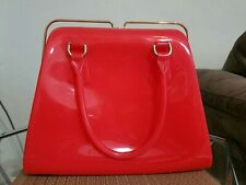 Furla Candy Metal Top Square Frame Red Tote Jelly Handbag $348