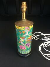 Chinese Green ground Famille Verte brush pot converted to lamp