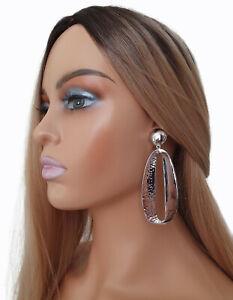 9cm long bright silver tone geometric / oval long statement drop earrings  #A706