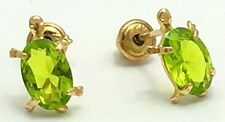 PERIDOT TURTLE Earrings 14k Yellow Gold Screw Backs  *FREE SHIPPING