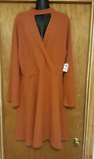 NWT Charlotte Russe Plus Size Dress Bell Sleeve Chelsea 2Day Burnt Orange(Sz 2X)