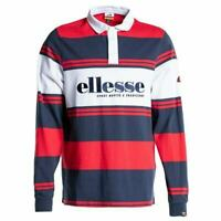 Ellesse Mens Long Sleeve Polo Shirt Rugby Navy Red Medium RRP £55