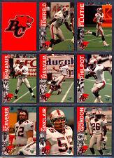 1995 REL CFL FOOTBALL 18 CARD B C LIONS TEAM SET DAVE BENEFIELD FLUTIE MACMANUS