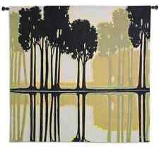 MIRRORED SILHOUETTE TREES ABSTRACT ART TAPESTRY WALL HANGING 52x52