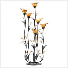 Tall Golden Amber Calla Lily Bunch Tealight Candle Holder