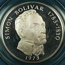 1973 Panama 20 Balboas Simon Bolivar Proof Silver Commemorative Coin-w/Box