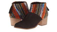 TOMS Chocolate Suede Multi Textile Leila Booties Shoes. Sz 9