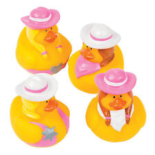 12 Pink Cowgirl HORSE Rubber Ducks Duckie FARM party favor  Cake Topper