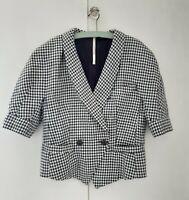 TOPSHOP BOUTIQUE Tailored Crop Wool Jacket Blazer Navy & White Checked Uk Size 8