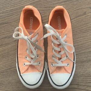 Converse All Stars Kids Unisex Sneakers Size 4 Fluro Orange Almost New