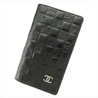 Chanel Long Wallet Black Gold Silver leather Woman Authentic Used T9376