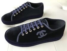 Chanel PURPLE NAVY VELVET Low Top Sneakers Trainers LACE UP Shoes CC Logo 40